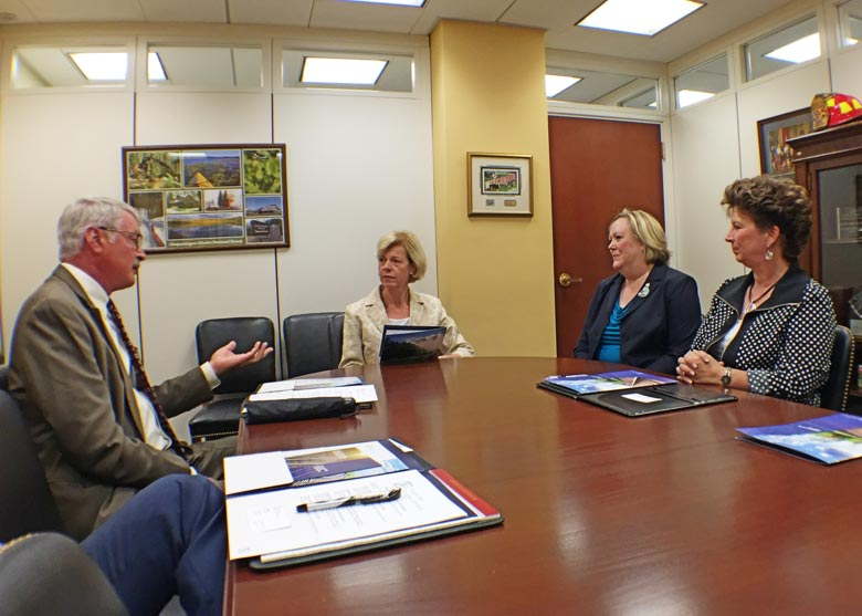 Senator Tammy Baldwin (D-WI), Member of the Senate Appropriations Committee meets with FRCA Leadership. Pictured from left are Brian Rude (Dairyland Power Cooperative), Senator Baldwin, Ann Warner (FRCA), and Shelley Sahling-Zart (Lincoln Electric System).
